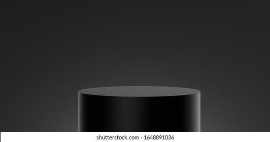 Ilustración 3D del cilindro de podio de etiqueta negra cerrado o pedestal vacío, soporte en blanco para el producto y la pantalla en gradiente negro y fondo mínimo