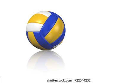 3D illustration of a Close up on a Beach Volleyball on a reflecting white floor