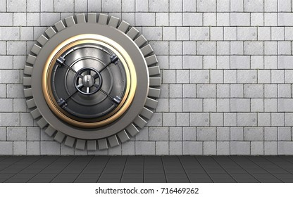 3d illustration of closed bank door  over white stones background