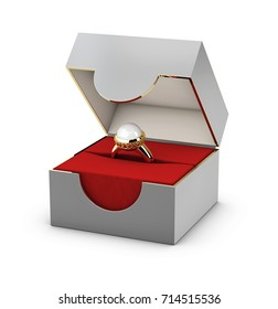 3d Illustration of Close-up of a red and gray jewelry box with elegant gold ring.