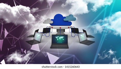 3d illustration of Cloud network in abstract technology background. Cloud networking concept
