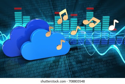 3d illustration of clouds over sound wave digital background with notes