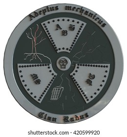 "3D illustration coat of arms Warhammer Adeptus Mechanicus (Lat. means ""mechanics adepts"") Clan Radus (Lat. means ""Radiation"") AHB-Antoine Henri Becquerel; MS-Marie Sklodowska-Curie;  PC-Pierre Curie."