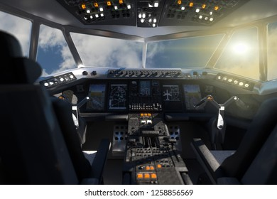 3D Illustration of the cockpit from the aircraft's inside