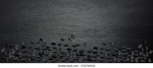 3d illustration coffee beans on a dark background. Coffee-themed texture for further use in projects. 3d rendering.