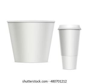 3D illustration. Coffee and popcorn cups Isolated on white background. Mock up.