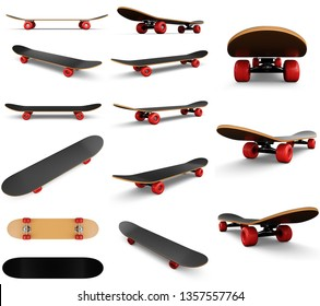 3d illustration collection, group, set of fourteen skateboards isolated on white background. Photorealistic skateboard template. Skateboard for outdoor recreation.