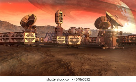 3D Illustration of a colony on a Mars-like red planet, with crate pods, satellite dishes and a moon on a dusty sky, for planetary and space exploration backgrounds.