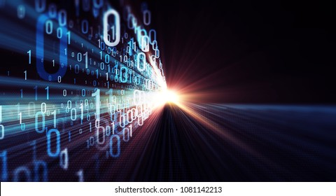 3D illustration. Color  bytes of binary code flying through a vortex, background code depth of field with lens flares. 3D Rendering