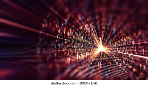 3D illustration. Color  bytes of binary code flying through a vortex, background code depth of field/Binary code  background