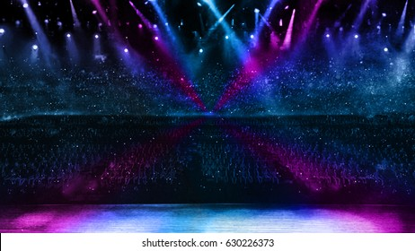3D illustration of color spotlight with stage in concert performance