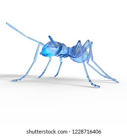 3D illustration of an colored glass ant over white