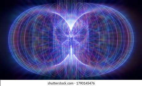 3D illustration colored rays torsion field of an angel