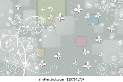 3d illustration, colorful background, white paper butterflies and fabulous flowers