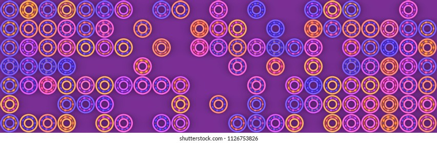 3d illustration with colorful bearings. Abstract background in purple tones.
