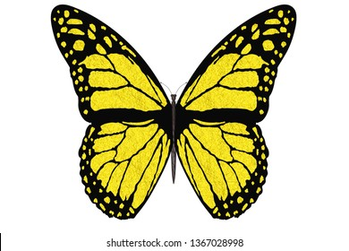 3D illustration. Colorful butterfly flies with open wings on a white background.