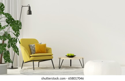 3D illustration. Colorful interior with a yellow armchair