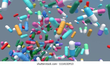 3d illustration colorful medecine pills in the air