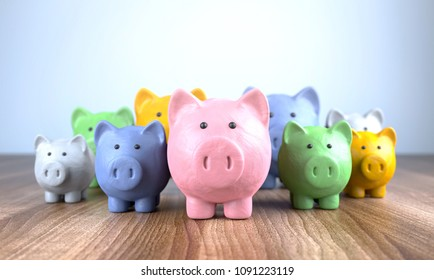 3D Illustration colorful piggy banks made of plasticine