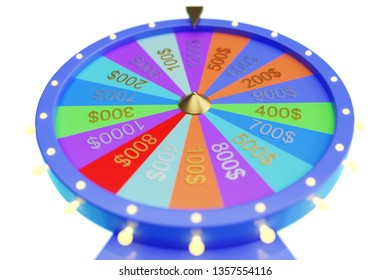 3d illustration colorful wheel of luck or fortune. Roulette fortune spinning wheels, casino wheel. Wheel fortune on white background.