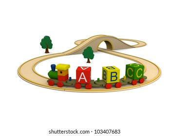 3D illustration of colorful wooden toy train carrying alphabet letters