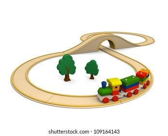 3D illustration of colorful wooden toy train with track