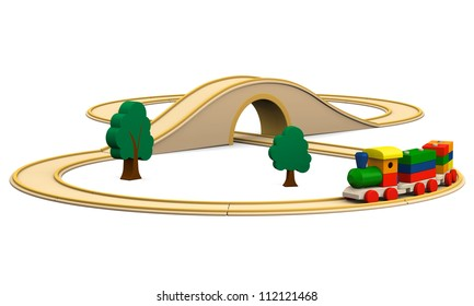 3D illustration of colorful wooden toy train with track, isolated on white background