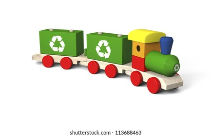 3D illustration of colorful wooden toy train with recycling symbols, concept of environmental protection as part of early children education, isolated on white background