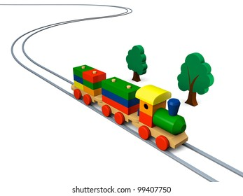 3D illustration of colorful wooden toy train on rails