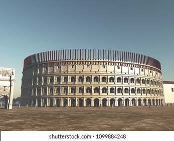 3d illustration of the Colosseum of Rome in antiquity