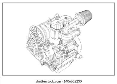 3d illustration of a combustion engine.