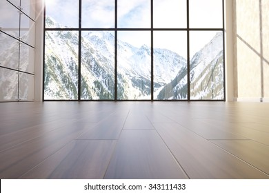 3d illustration of comfortable contemporary interior with amazing scenery view of mountains. Low angle view
