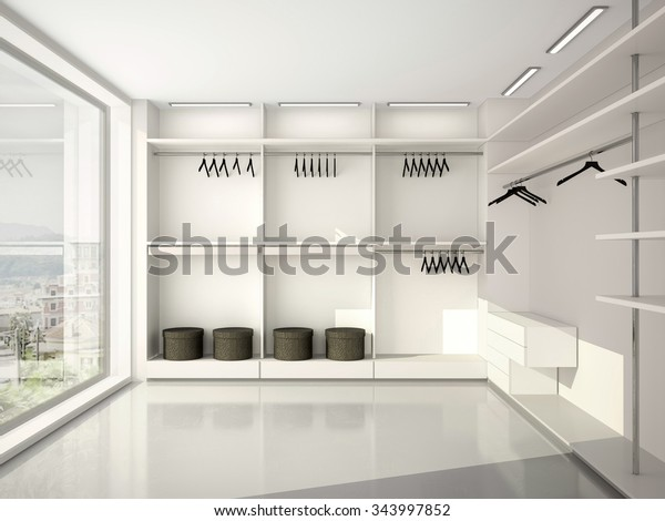 3d illustration of comfortable modern blank wardrobe