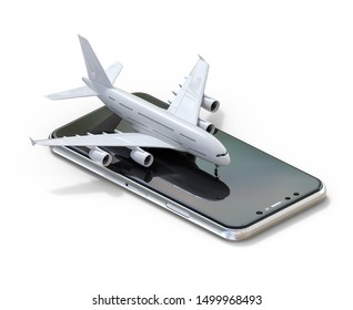 3D illustration of commercial airplane on smartphone.isometric isolated