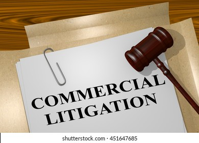 "3D illustration of ""COMMERCIAL LITIGATION"" title on legal document"