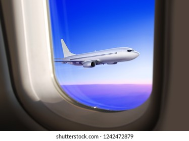 3d illustration of commercial plane flies in the sky, view from the window of airplane