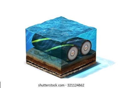 3d Illustration of Communication Cable lying on section of ocean bottom under water, isolated on white background