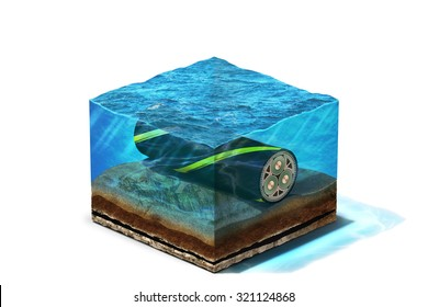 3d Illustration of Communication Cable lying on section of ocean bottom under water, isolated on white backgroun