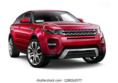 3D illustration of Compact red SUV on white background