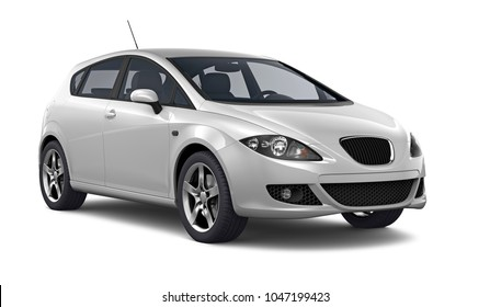 3D illustration of compact white car on white background