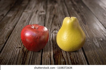 3D illustration comparing apple and pear
