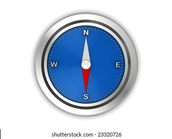 3d illustration of an compass isolated over white background