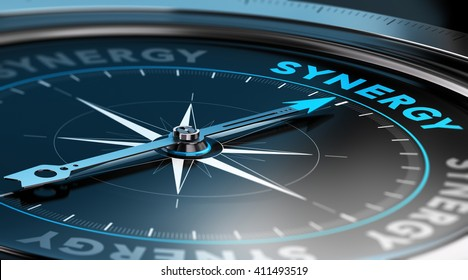 3D illustration of a compass with the needle pointing the word synergy. black background