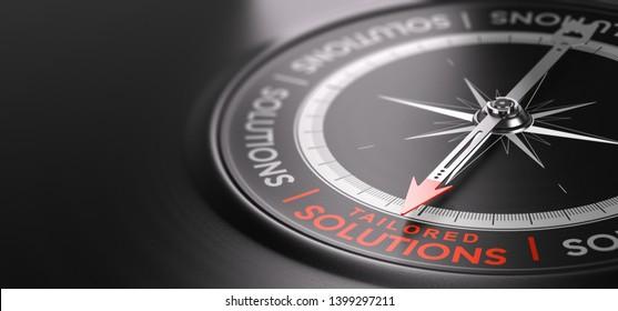 3D-Illustration eines Kompasses auf schwarzem Hintergrund mit den auf den Text zugeschnittenen Lösungen in Rot. Maßgeschneidertes Dienstleistungskonzept.