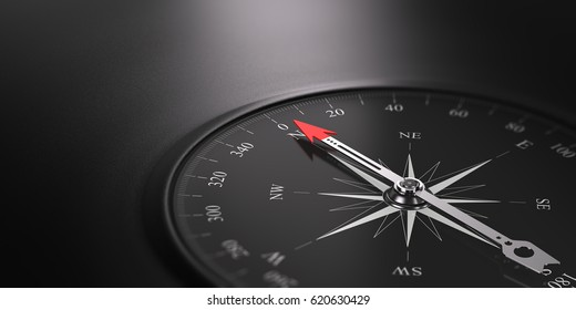 3D illustration of a compass over black background with needle pointing the north direction, free space on the left side of the image. Business orientation concept.