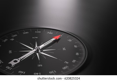 3D illustration of a compass over black background with needle pointing the north direction, free space on the right side of the image. Business or career orientation concept.
