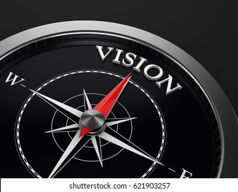 3D Illustration of a Compass pointing at Vision