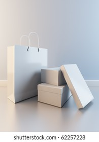 A 3D illustration of composition of paper bag and boxes for shoes