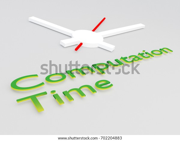 """3D illustration of """"Computation Time"""" title with a clock as a background"""