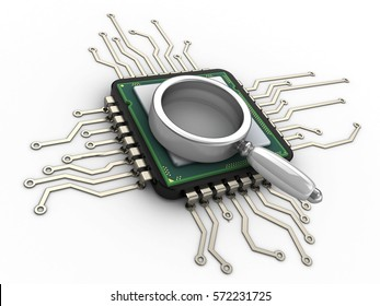 3d illustration of computer chip over white background with magnify glass